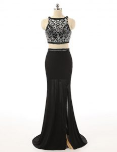 Black Two Pieces Beading Homecoming Dress Zipper Chiffon Sleeveless With Train