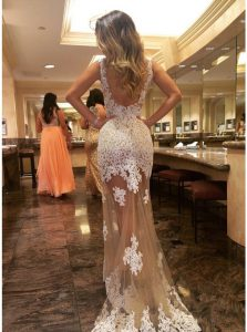 Fancy Champagne Mermaid Scoop Sleeveless Tulle Court Train Backless Appliques Prom Gown