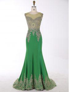 Fine Mermaid Scoop Green Zipper Prom Dresses Beading and Appliques Sleeveless Brush Train