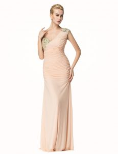 Mermaid One Shoulder Peach Sleeveless Beading and Ruching Floor Length Prom Dresses