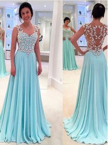 Aqua Blue Sweetheart Zipper Appliques Prom Dress Sleeveless