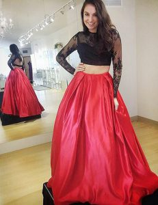 Red Backless High-neck Lace Homecoming Dress Satin Long Sleeves