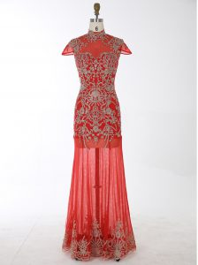 Mermaid Backless High-neck Cap Sleeves Prom Dress Floor Length Beading and Appliques Red Chiffon