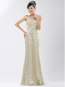 One Shoulder Sequined Sleeveless Floor Length Prom Dress and Sequins