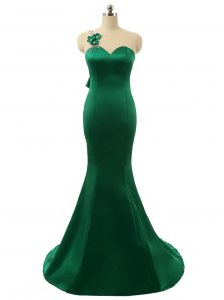 Mermaid Scoop Zipper Prom Dresses Green for Prom and Party with Beading and Bowknot and Hand Made Flower Sweep Train
