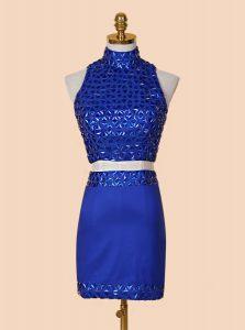 High Quality Royal Blue Column/Sheath Satin High-neck Sleeveless Beading Mini Length Backless Evening Dresses