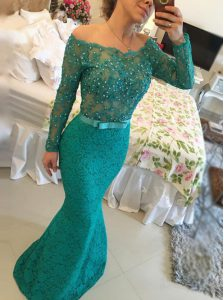 Chic Mermaid Lace Green Backless Prom Dress Beading Long Sleeves Floor Length