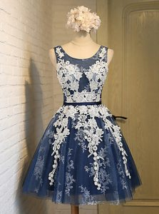 Navy Blue Organza Lace Up Scoop Sleeveless Knee Length Prom Dress Appliques