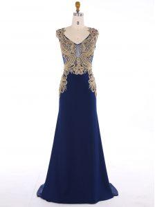 Mermaid V-neck Sleeveless Sweep Train Zipper Prom Party Dress Navy Blue Chiffon