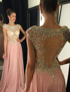 Trendy Cap Sleeves Beading Side Zipper Evening Dress with Pink Brush Train