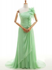 New Arrival One Shoulder Sleeveless With Train Ruffles and Hand Made Flower Lace Up Formal Dresses with Green Sweep Trai