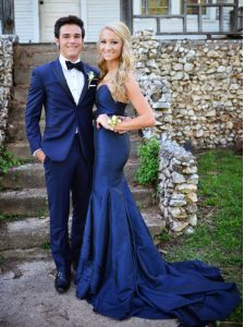 Mermaid Chiffon Sweetheart Sleeveless Sweep Train Zipper Ruching Prom Party Dress in Navy Blue