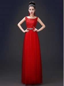 Tulle Scoop Sleeveless Zipper Appliques Dress for Prom in Red