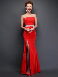 Traditional Red Mermaid Strapless Sleeveless Satin Floor Length Lace Up Beading Prom Dress