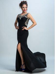 Hot Selling Scoop With Train Mermaid Sleeveless Black Prom Dress Brush Train Zipper