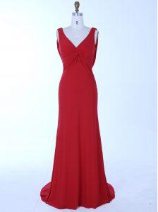 Ideal Mermaid Red Chiffon Zipper V-neck Sleeveless Prom Party Dress Brush Train Beading