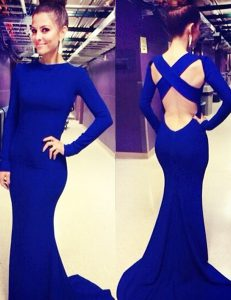 Hot Selling Mermaid Scoop Long Sleeves Criss Cross Dress for Prom Royal Blue for Prom with Ruching Brush Train