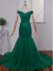 Mermaid Off the Shoulder Green Sleeveless Ruching Zipper Prom Dress