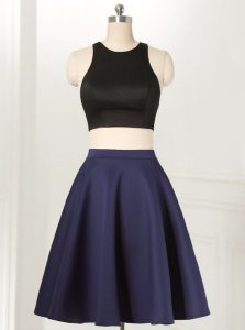 Scoop Navy Blue A-line Ruffles Party Dress for Girls Zipper Satin and Elastic Woven Satin Sleeveless Knee Length