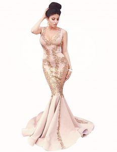 Colorful Mermaid Satin Scoop Sleeveless Brush Train Zipper Beading Prom Dress in Peach
