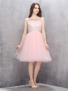 Vintage A-line Womens Party Dresses Pink Scoop Organza Sleeveless Knee Length Zipper