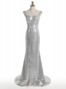 Elegant Mermaid Square Silver Sleeveless Sweep Train Sequins With Train Dress for Prom