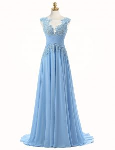 Cheap Light Blue A-line Chiffon Scoop Sleeveless Appliques With Train Zipper Prom Party Dress Brush Train