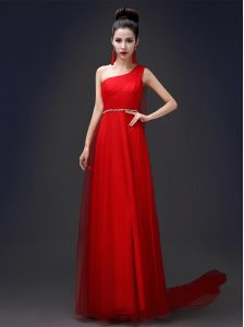 Flirting One Shoulder Red Tulle Zipper Homecoming Dress Sleeveless Floor Length Beading