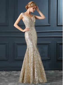 Mermaid Champagne Sequined Zipper Prom Dresses Sleeveless Floor Length Sequins