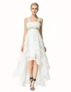 Fantastic Sleeveless Organza High Low Lace Up Evening Dress in White with Beading