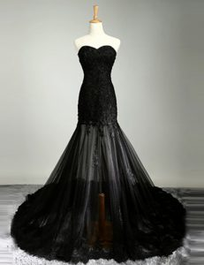 New Style Black Mermaid Sweetheart Sleeveless Tulle With Brush Train Zipper Lace Prom Dress