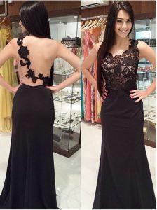 Glamorous Mermaid Scoop Sleeveless Brush Train Lace Zipper Runway Inspired Dress