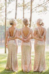 Mermaid Sequined Scoop Cap Sleeves Zipper Sequins Prom Dresses in Champagne