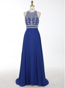 Pretty Royal Blue Prom and Party and For with Beading Scoop Sleeveless Brush Train Criss Cross
