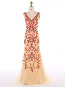 Beauteous Mermaid Champagne Prom Party Dress Prom and Party and For with Beading and Embroidery V-neck Sleeveless Sweep