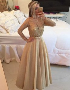 Classical Champagne Zipper Bateau Beading and Lace Prom Dresses Chiffon Long Sleeves