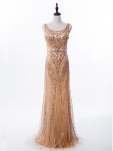 High Quality Mermaid Gold Satin and Tulle Zipper Square Sleeveless Prom Evening Gown Brush Train Beading and Sequins