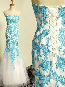 Nice Mermaid Sweetheart Sleeveless Celebrity Prom Dress Floor Length Appliques Blue and Blue And White Tulle