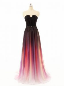 Best Selling Sleeveless Chiffon and Fading Color With Train Sweep Train Zipper Prom Evening Gown in Multi-color with Bel