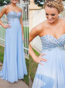 Fantastic Sweetheart Sleeveless Backless Prom Dress Light Blue Chiffon