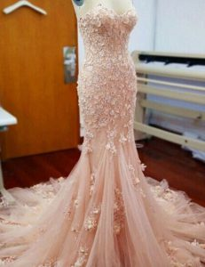 Mermaid With Train Zipper Prom Gown Baby Pink for Prom and Party with Appliques Chapel Train