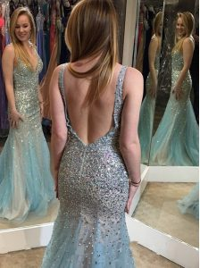 Latest Mermaid Multi-color Evening Outfits Prom and Party and For with Beading V-neck Sleeveless Backless