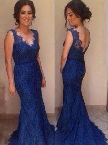 Lace Mermaid Sleeveless Royal Blue Prom Dress Court Train Backless