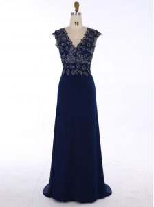 Exceptional Navy Blue Chiffon Zipper Homecoming Dress Sleeveless Sweep Train Appliques