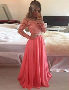 Fantastic Scoop Long Sleeves Beading and Appliques Zipper Dress for Prom