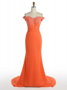 Beautiful Mermaid Off the Shoulder Orange Sleeveless Satin Sweep Train Zipper Prom Dresses for Prom and Wedding Party