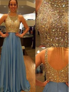 Scoop Sleeveless Chiffon With Brush Train Zipper Prom Evening Gown in Blue with Sequins