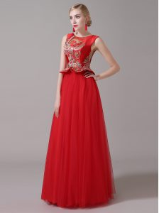 Sweet Scoop Floor Length Red Dress for Prom Tulle Sleeveless Appliques