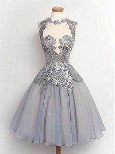 High Quality Scalloped Cap Sleeves Zipper Prom Dress Grey Chiffon