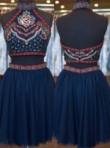 Navy Blue A-line Embroidery Prom Evening Gown Zipper Organza Sleeveless Knee Length